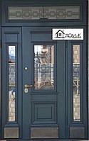 Железные двери с ковкой и стеклом
