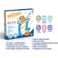 Синтезатор (пианино) детский со стульчиком, микрофоном и USB-кабелем