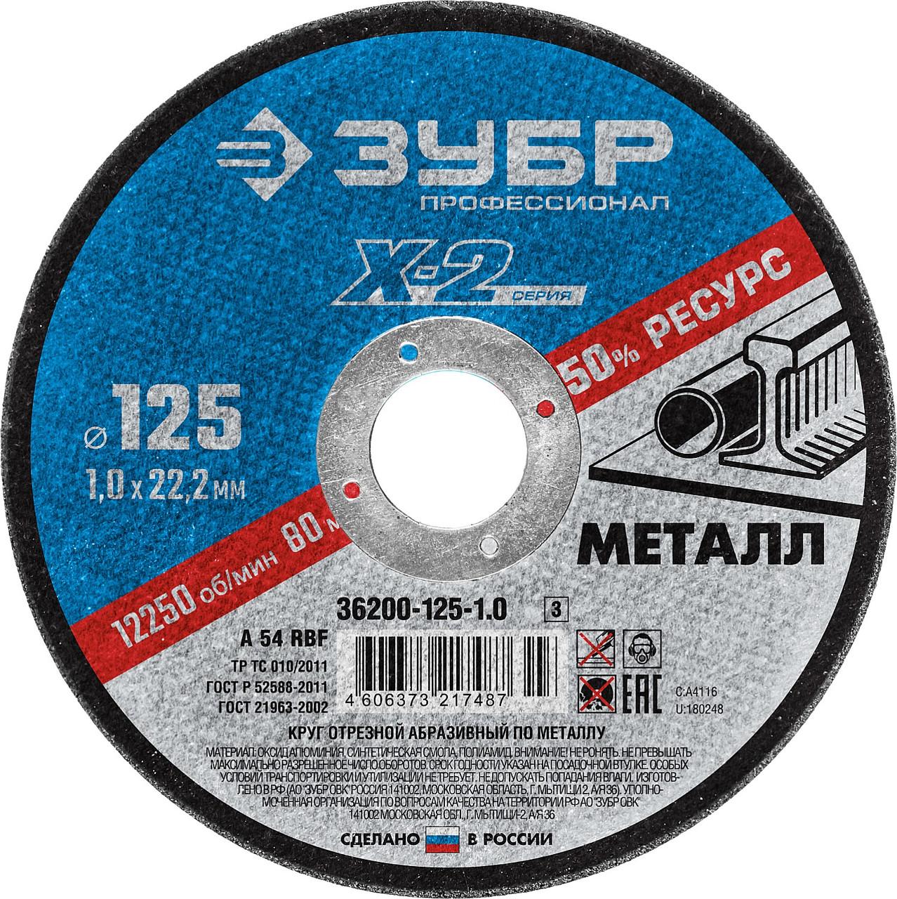 Круг отрезной по металлу ЗУБР, 125х1,0х22,23мм