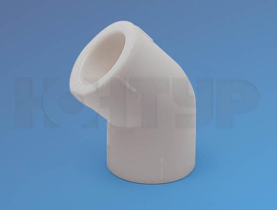 Угольник для полипролиленовых труб, полуотвод D63/45гр. PPR Контур