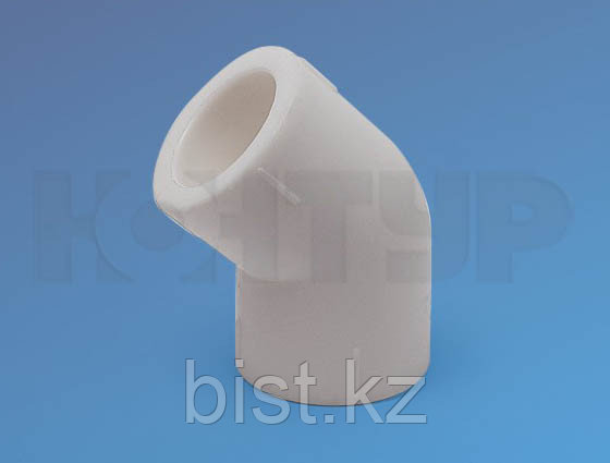 Угольник для полипролиленовых труб, полуотвод D75/45гр. PPR Контур