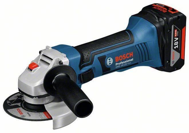 Аккумуляторная УШМ Bosch GWS 18-125 V-LI,1акк. 4.0А*ч, ЗУ  (0615990L6G)