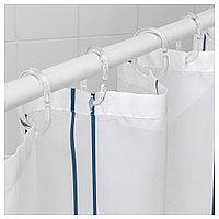ОТТШЁН Штора для ванной, белый/синий, 180x200 см, фото 1