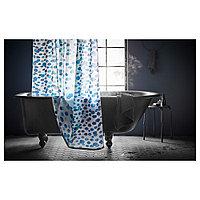 СКОРРЕН Штора для ванной, белый/синий