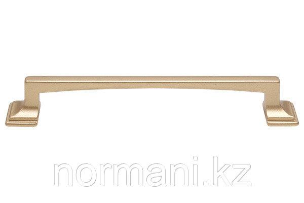 Мебельная ручка скоба, замак, размер посадки 128 мм, цвет золото матовое