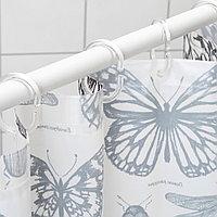 СОММАРМАЛЬВА Штора для ванной, белый, темно-серый, 180x200 см, фото 1