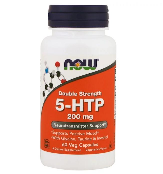 Now Foods, 5-гидрокситриптофан, двойной концентрации, 200 мг, 60 вегетарианских капсул