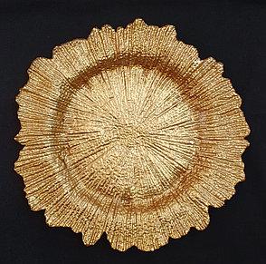 Подтарельники (Сервировочная тарелка) Снежинка золото, фото 2