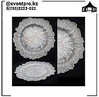Подтарельники (Сервировочная тарелка) Снежинка серебро
