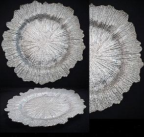 Подтарельники (Сервировочная тарелка) Снежинка серебро, фото 2