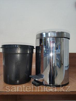 FRAP F702 Ведро для мусора 5л. хром, фото 2