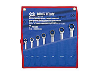 """Набор комбинированных трещоточных ключей, 3/8""""-3/4"""", чехол из теторона, 7 предметов KING TONY 12207SRN"""