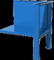 Полка/стенка и верстачная опора для однотумбового верстака, синяя FERRUM 01.501-5015