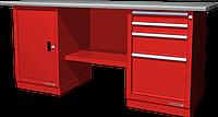 Верстак слесарный, двухтумбовый, оцинкованная столешница, красный FERRUM 01.204G-3000
