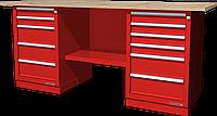 Верстак слесарный, двухтумбовый, столешница из фанеры, красный FERRUM 01.256W-3000