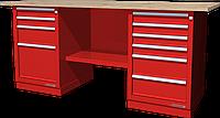 Верстак слесарный, двухтумбовый, столешница из фанеры, красный FERRUM 01.246W-3000