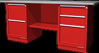 Верстак слесарный, двухтумбовый, оцинкованная столешница, красный FERRUM 01.223G-3000