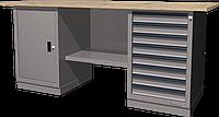 Верстак слесарный, двухтумбовый, столешница из фанеры, серый FERRUM 01.208W-7035