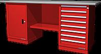 Верстак слесарный, двухтумбовый, оцинкованная столешница, красный FERRUM 01.208G-3000