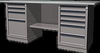 Верстак слесарный, двухтумбовый, оцинкованная столешница, серый FERRUM 01.246G-7035