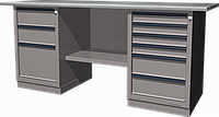 Верстак слесарный, двухтумбовый, оцинкованная столешница, серый FERRUM 01.236G-7035