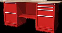 Верстак слесарный, двухтумбовый, столешница из фанеры, красный FERRUM 01.224W-3000