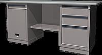 Верстак слесарный, двухтумбовый, оцинкованная столешница, серый FERRUM 01.213G-7035