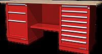 Верстак слесарный, двухтумбовый, столешница из фанеры, красный FERRUM 01.238W-3000