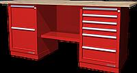 Верстак слесарный, двухтумбовый, столешница из фанеры, красный FERRUM 01.226W-3000