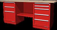 Верстак слесарный, двухтумбовый, столешница из фанеры, красный FERRUM 01.235W-3000
