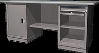Верстак слесарный, двухтумбовый, оцинкованная столешница, серый FERRUM 01.201G-7035