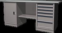 Верстак слесарный, двухтумбовый, оцинкованная столешница, серый FERRUM 01.206G-7035