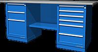 Верстак слесарный, двухтумбовый, оцинкованная столешница, синий FERRUM 01.236G-5015