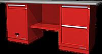 Верстак слесарный, двухтумбовый, оцинкованная столешница, красный FERRUM 01.212G-3000