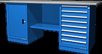 Верстак слесарный, двухтумбовый, оцинкованная столешница, синий FERRUM 01.208G-5015