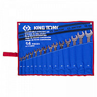 Набор комбинированных ключей, 10-32 мм, чехол из теторона, 14 предметов KING TONY 1214MRN