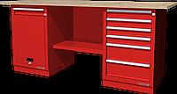 Верстак слесарный, двухтумбовый, столешница из фанеры, красный FERRUM 01.216W-3000