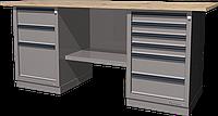 Верстак слесарный, двухтумбовый, столешница из фанеры, серый FERRUM 01.236W-7035
