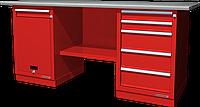Верстак слесарный, двухтумбовый, оцинкованная столешница, красный FERRUM 01.215G-3000