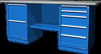 Верстак слесарный, двухтумбовый, оцинкованная столешница, синий FERRUM 01.225G-5015