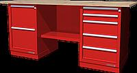 Верстак слесарный, двухтумбовый, столешница из фанеры, красный FERRUM 01.225W-3000