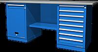 Верстак слесарный, двухтумбовый, оцинкованная столешница, синий FERRUM 01.218G-5015