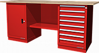 Верстак слесарный, двухтумбовый, столешница из фанеры, красный FERRUM 01.208W-3000
