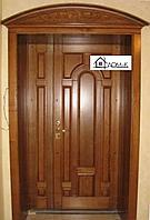 Дверь двухстворчатая железная с МДФ