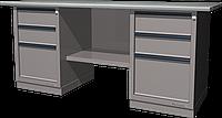 Верстак слесарный, двухтумбовый, оцинкованная столешница, серый FERRUM 01.233G-7035
