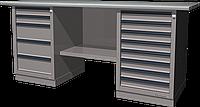 Верстак слесарный, двухтумбовый, оцинкованная столешница, серый FERRUM 01.258G-7035