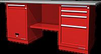 Верстак слесарный, двухтумбовый, оцинкованная столешница, красный FERRUM 01.214G-3000