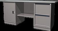 Верстак слесарный, двухтумбовый, оцинкованная столешница, серый FERRUM 01.202G-7035