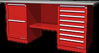 Верстак слесарный, двухтумбовый, оцинкованная столешница, красный FERRUM 01.228G-3000