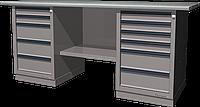 Верстак слесарный, двухтумбовый, оцинкованная столешница, серый FERRUM 01.256G-7035